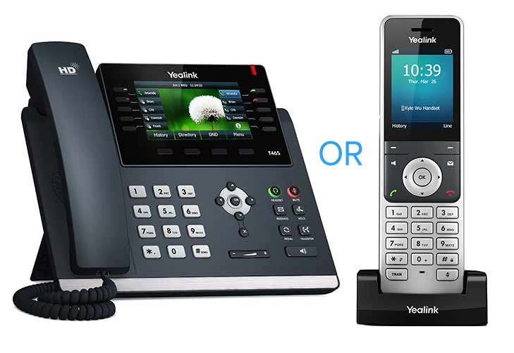 Yealink T46S or W56P included with Telair uPBX Bundles.